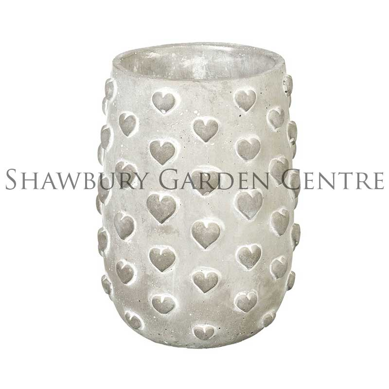 Picture of Parlane Hearts Tall Grey Concrete Planter