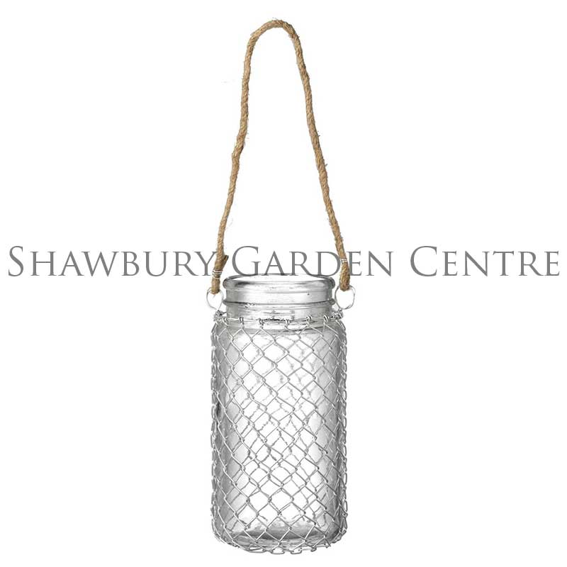 Picture of Parlane Hanging Glass & Wire Mesh Candle Holder