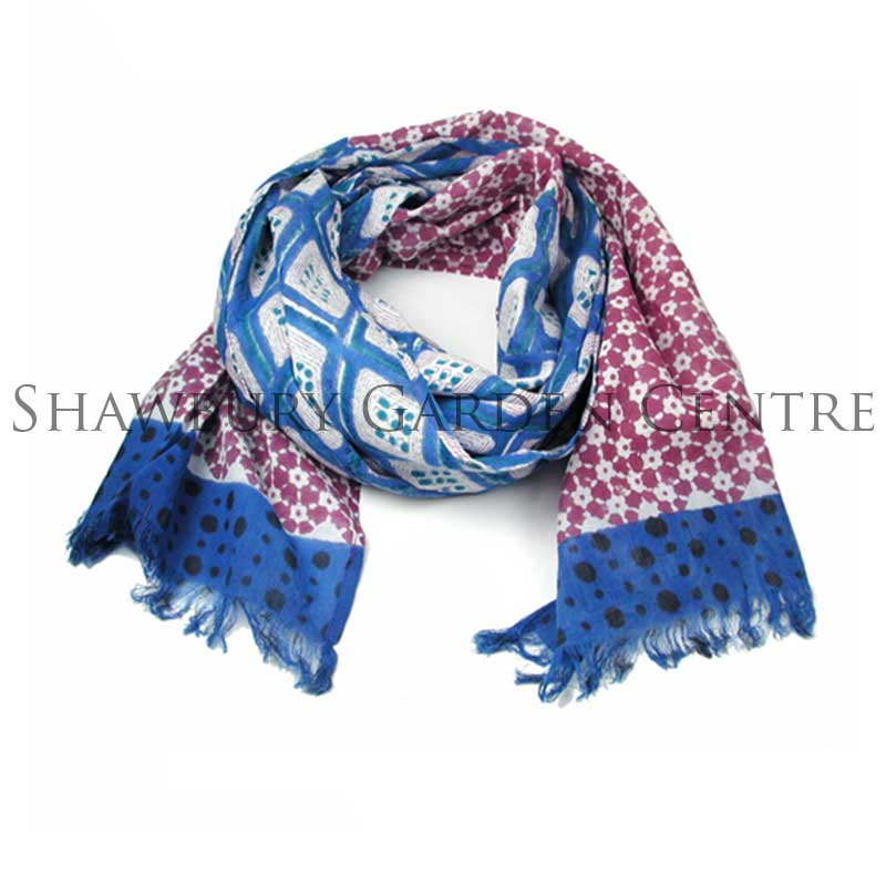 Picture of Blue and Pink Geometric Print Cotton Scarf