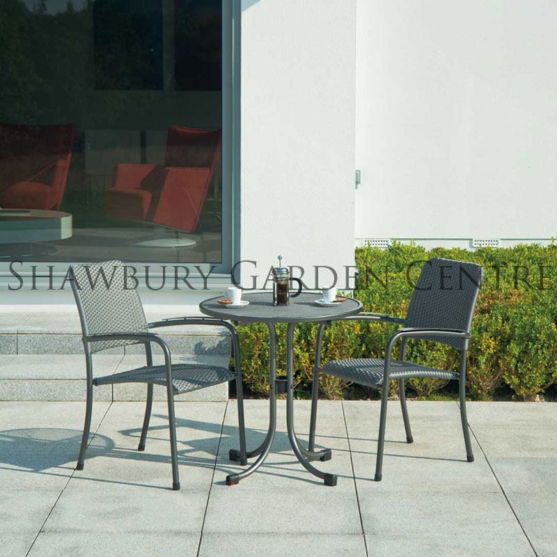 Picture of Alexander Rose Portofino Round Metal Bistro Set: Woven Chairs