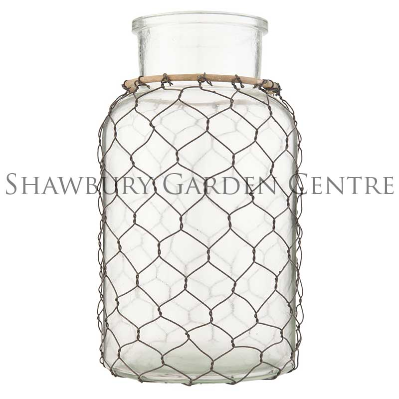 Clayre & Eef Large Glass Jar Vase with Chicken Wire