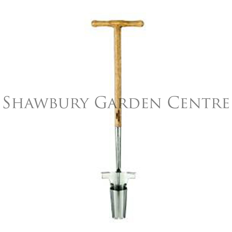 Moulton mill stainless steel long handled bulb planter for Long handled garden tools