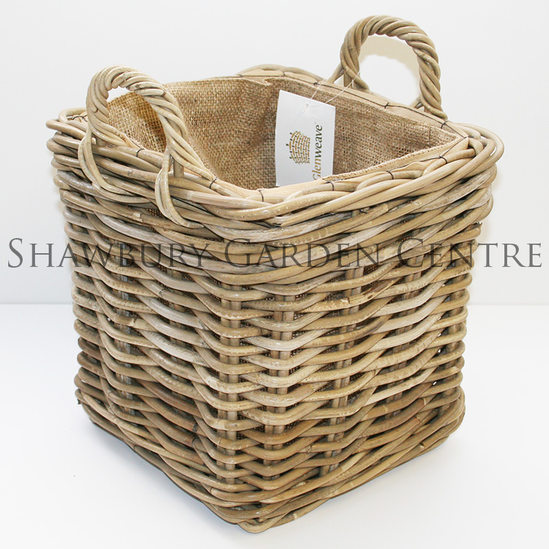 Woven Shopping Basket Uk : Glenweave woven square basket with jute liner small