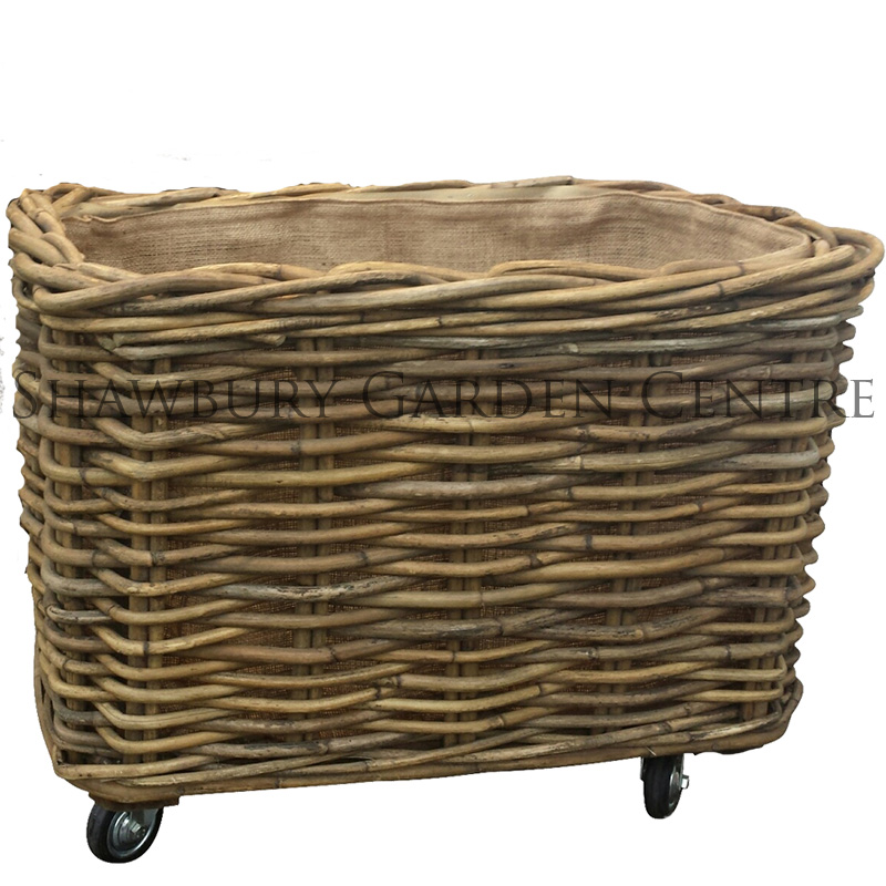 Picture of Rectangular Log Basket with Wheels